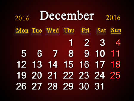 claret: beautiful claret calendar on December of 2016. Calendar for printing and using in office life Stock Photo