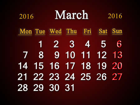 claret: beautiful claret calendar on March of 2016