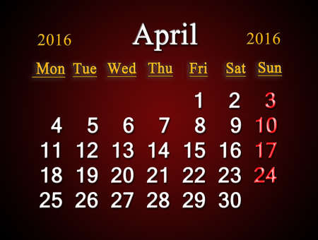 claret: beautiful claret calendar on April of 2016. Calendar for printing and using in office life