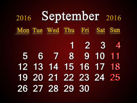 claret: beautiful claret calendar on September of 2016. Calendar for printing and using in office life