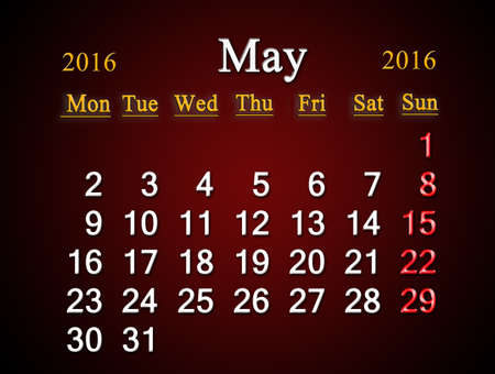 claret: beautiful claret calendar on the May of 2016