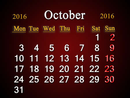 claret: beautiful claret calendar on October of 2016. Calendar for printing and using in office life