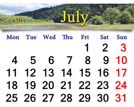 calendario julio: Calendario de julio 2016 en el paisaje de verano con r�o de monta�a