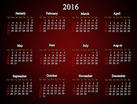 claret: beautiful claret calendar for next  2016. American variant. Calendar for printing and using in office life. Stock Photo