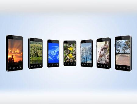 Moderne mobiele telefoons met verschillende afbeeldingen