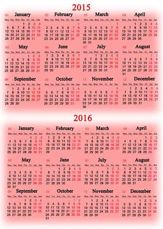 usual: usual office calendar for 2015 - 2016 years on the pink background