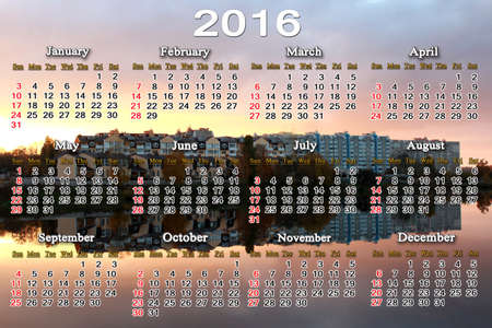 next horizon: beautiful calendar for 2016 with landscape of river and modern house reflecting in it