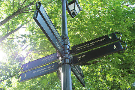 luxacion: señal con indicación de los lugares de interés en el parque