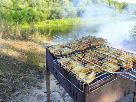 appetizing: appetizing barbecue from hens meat cooking in the nature Stockfoto