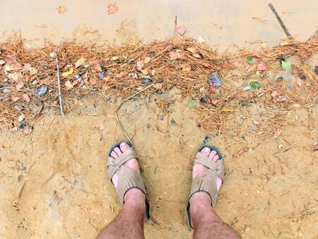 wayfarer: feet of the traveller standing on the sand of forest lake