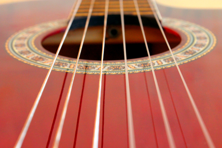 fingerboard: close-up of fingerboard and strings of guitar Stock Photo
