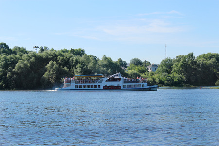motor launch: beautiful landscape with promenade motor ship on the river