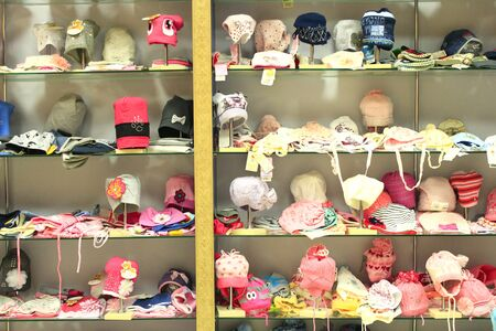 outer clothing: great assortment in shop of caps and hats