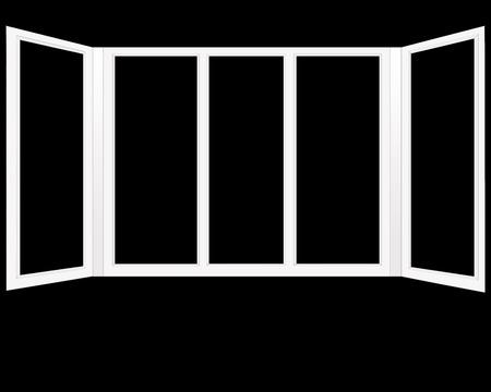 windows frame: frame of plastic windows isolated on the black background