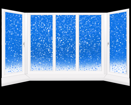 overlooking: windows overlooking the fabulous snowing. Winter view from window isolated on the black Stock Photo