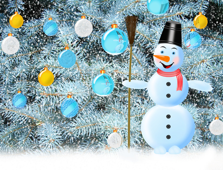 newyear: snowman on the background of New Year tree with New-Year tree decorations Stock Photo