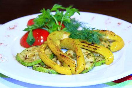 paprica: dish for vegetarians vegetables grilled paprica tomatoes zucchini and fennel Stock Photo