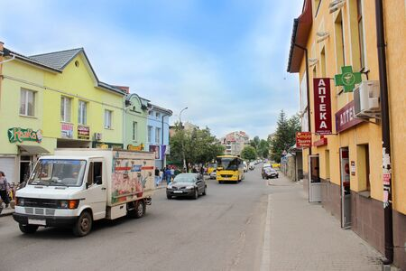 western town: life in nice street of Drohobych town in Western Ukraine Editorial