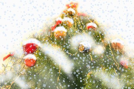 improbable: harmonous and dressed up New Years fur-tree in snow Stock Photo