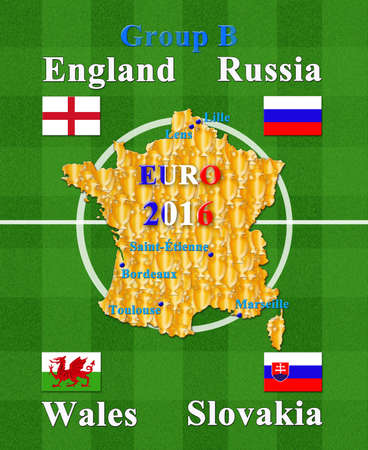 group b: football championship EURO 2016 in France group B Stock Photo