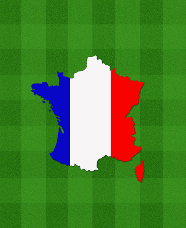 football field: map of France on football field as symbol of football championship EURO 2016