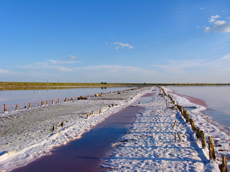extracted: landscape with salty sea where the salt is extracted in Sivash
