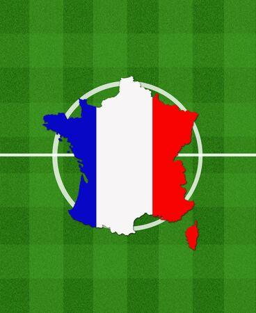 terrain foot: carte de France sur le terrain de football comme symbole de championnat de football