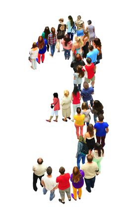 croud: number three of the people isolated on the white background Stock Photo