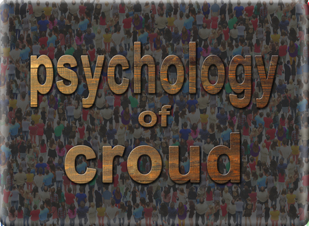 croud: dark inscription psychology of croud on the background of people