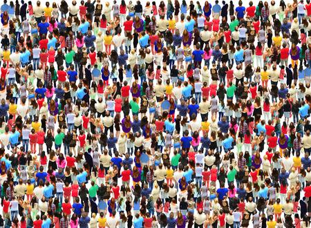 licht en grote menigte van verschillende mensen Stockfoto
