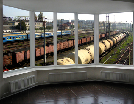 goods train: view from controllers office to the goods trains and railways