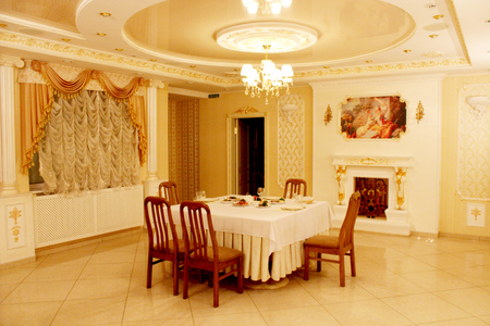beautiful rose: graceful and beautiful interior in restaurant Banquet hall in Chernihiv Editorial