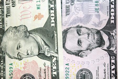 alexander hamilton: banconote del dollaro 5 e 10 con le immagini dei presidenti Archivio Fotografico