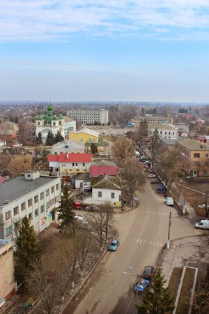 passerby: Beautiful panorama of Kozelets town from above in Ukraine