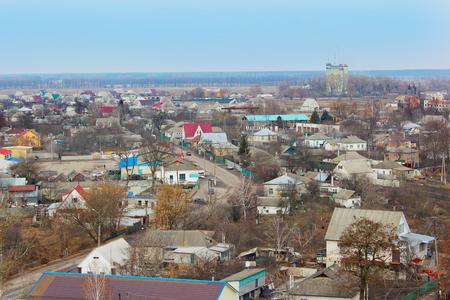 birdseye: Beautiful panorama of Kozelets town birds-eye view