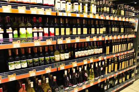 botle: wine shop with a wide selection of goods in supermarket