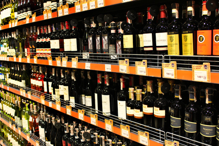wine trade: wine shop with a wide selection of goods in supermarket