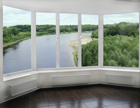 willows: window overlooking the beautiful landscape with Desna river and green willows