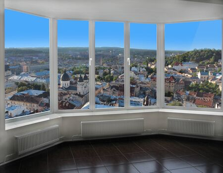 birdseye: modern window with view of Lviv birds-eye view