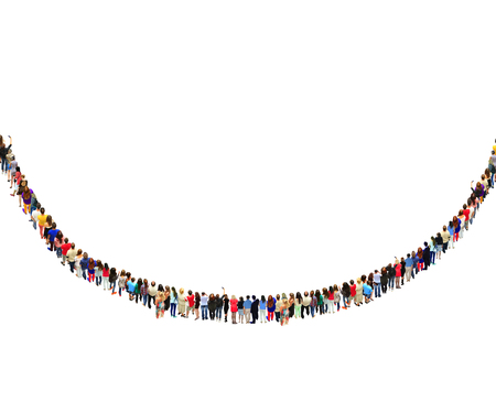 semicircle: crowd of people standing in the row in semicircle isolated on the white. Place for inscription Stock Photo