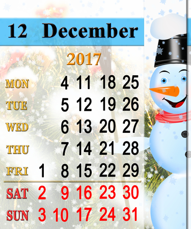 improbable: beautiful calendar for December 2017 with vertical ribbon of fabulous snowman