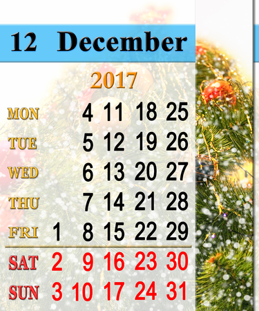 newyear: beautiful calendar for December 2017 with the ribbon of New-Year tree Stock Photo