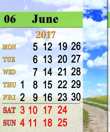 calendar for June 2017 on the background of summer landscape with mountain river