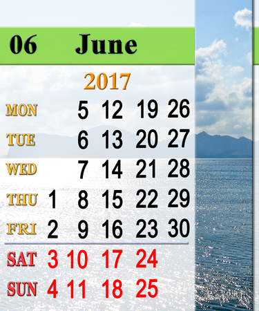 calendar for June 2017 with seashore with sand and waves Stock Photo
