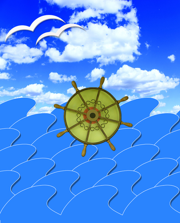 jorney: illustration of marine waves with steering-wheel and sun beams