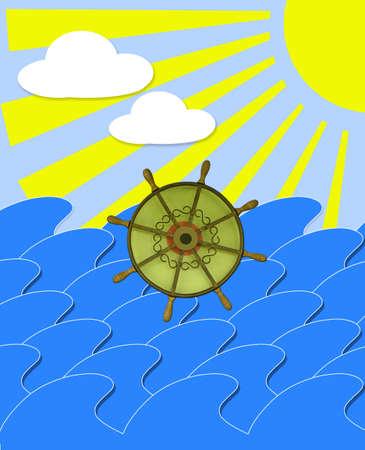 sunburn: illustration of marine waves with steering-wheel and sun beams