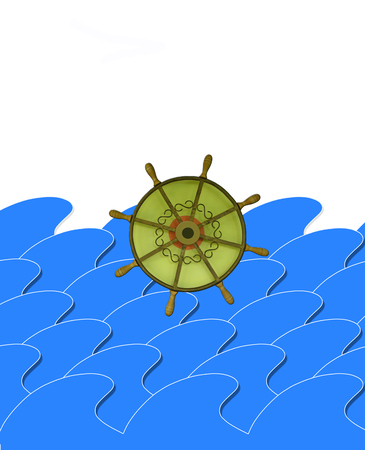 jorney: illustration of marine waves with steering-wheel on the white
