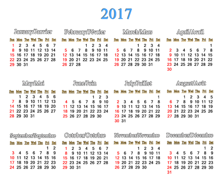 next year: calendar for 2017 years on the white background. Office calendar for next year