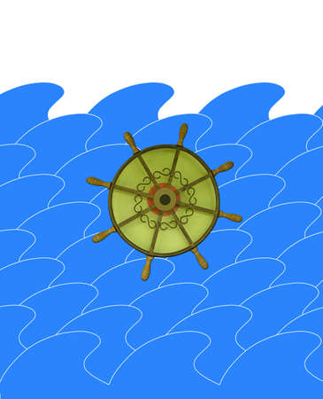 sunburn: illustration of marine waves with steering-wheel with empty place for text Stock Photo