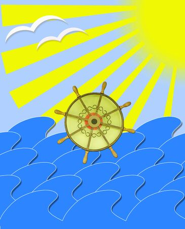 jorney: illustration of marine waves with steering-wheel mews and sun beams